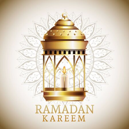 ramadan kareem celebration card with lantern hanging vector illustration design