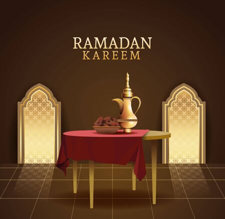 ramadan kareem celebration with teapot in table vector illustration design Illustration