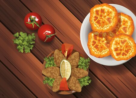 middle eastern food in wooden table vector illustration design