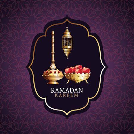 ramadan kareem celebration with golden chalice and apples vector illustration design Ilustração