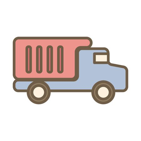 dump truck vehicle block style vector illustration design