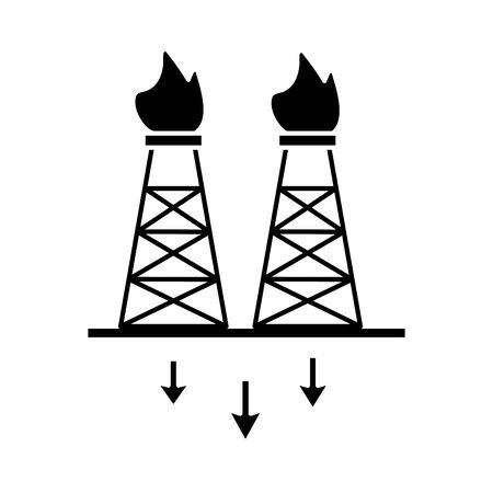 extraction tower oil flat style icon vector illustration design 向量圖像
