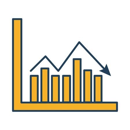 bars and arrow statistics infographic fill style icon vector illustration design