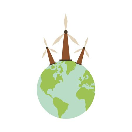 world planet earth with windmills vector illustration design