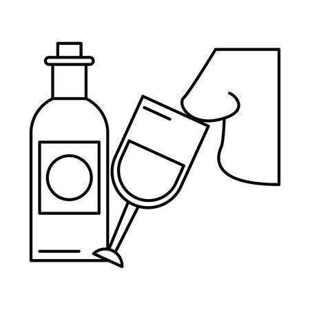 wine cup drink with nose smelling vector illustration design 向量圖像