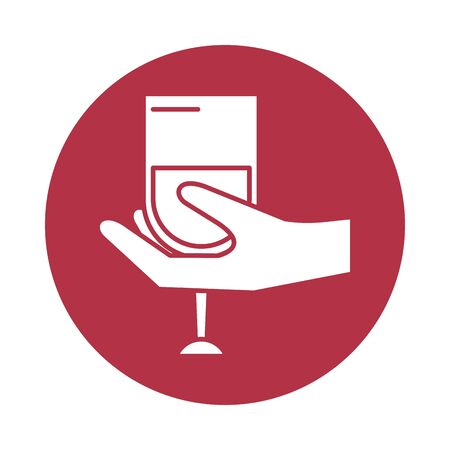 hand human lifiting wine cup drink vector illustration design 向量圖像