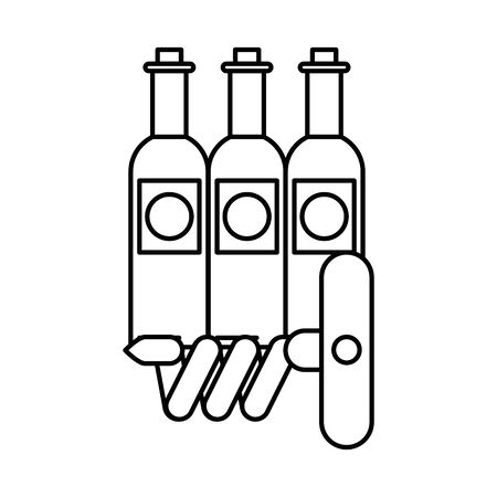 wine bottles drink isolated icon vector illustration design
