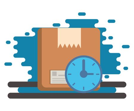 box carton packing with time clock postal service vector illustration design