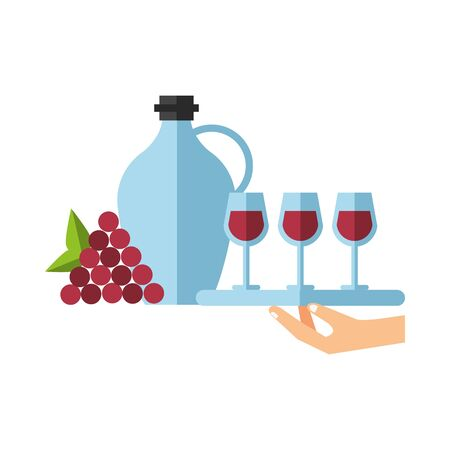 hand lifting tray with wine cups vector illustration design 向量圖像