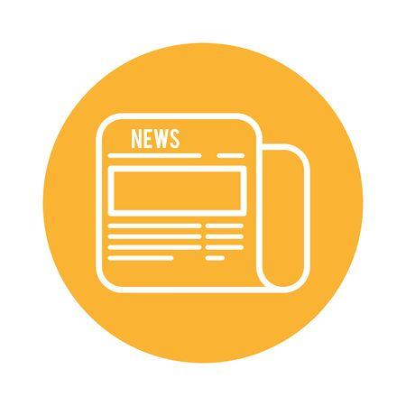 news paper block style icon vector illustration design