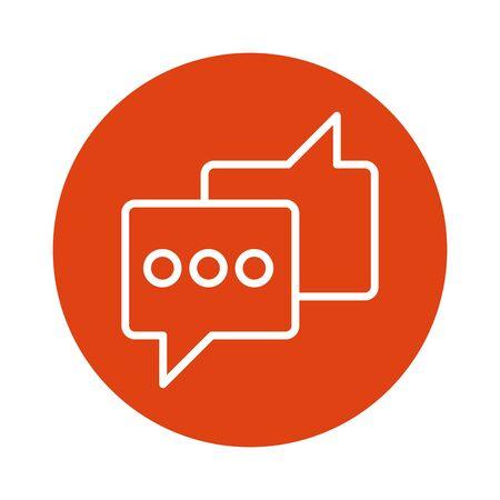 speech bubble message block style icon vector illustration design
