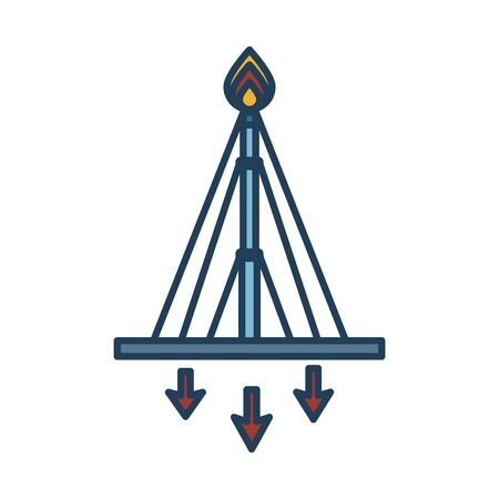extraction tower oil fill style icon vector illustration design