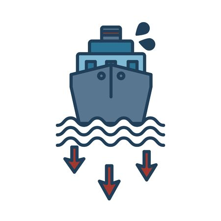 oil cargo ship fill style vector illustration design