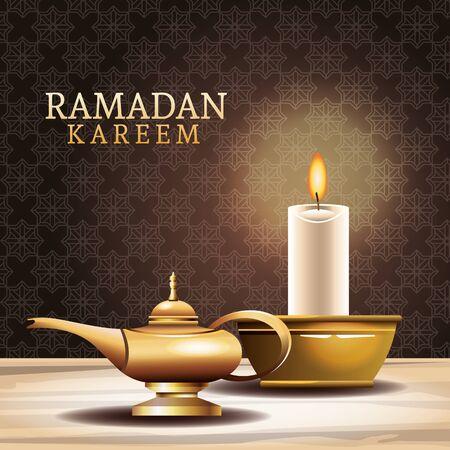 ramadan kareem celebration with magic lamp and candle vector illustration design