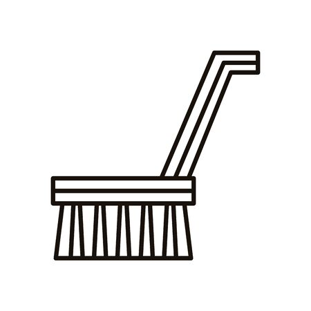 handle brush cleaning line style vector illustration design