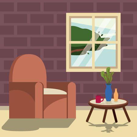 living room house scene icon vector illustration design