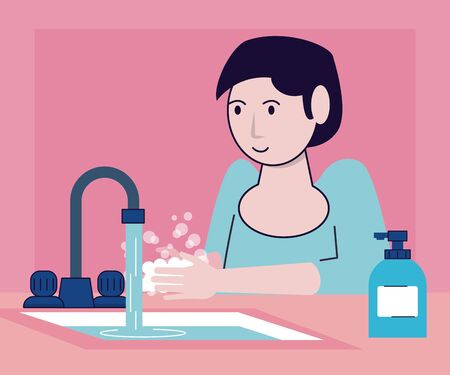 wash your hands campaign poster with woman and tap vector illustration design Standard-Bild - 143278658