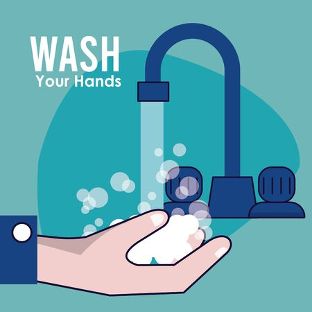 wash your hands campaign poster with water tap vector illustration design Standard-Bild - 143278769