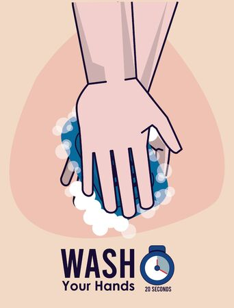 wash your hands campaign poster with soap vector illustration design Illustration