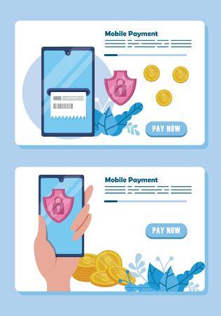 payment online technology with smartphones vector illustration design Vetores