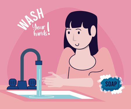 wash your hands campaign poster with woman and tap vector illustration design Standard-Bild - 143279119