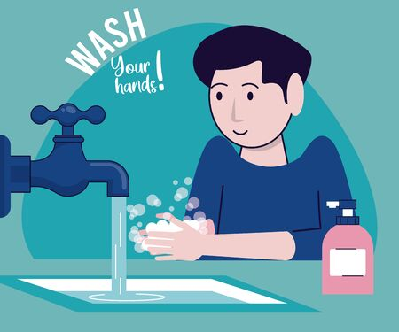 wash your hands campaign poster with man and tap vector illustration design Standard-Bild - 143279257