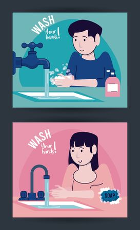 wash your hands campaign poster with couple and water taps vector illustration design