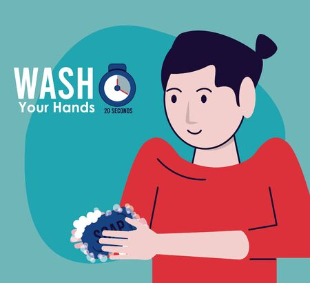 wash your hands campaign poster with woman vector illustration design Standard-Bild - 143279278