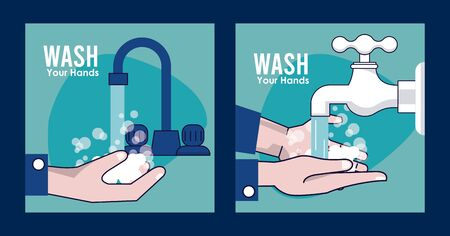 wash your hands campaign poster hands and water tap vector illustration design Standard-Bild - 143279280