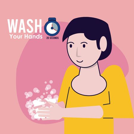 wash your hands campaign poster with woman vector illustration design