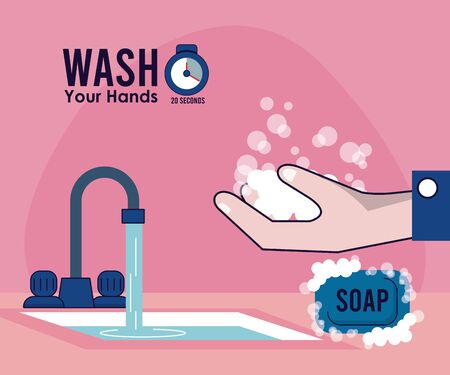 wash your hands campaign poster with water tap vector illustration design Standard-Bild - 143279289