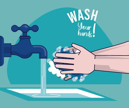 wash your hands campaign poster with water tap vector illustration design Standard-Bild - 143279324