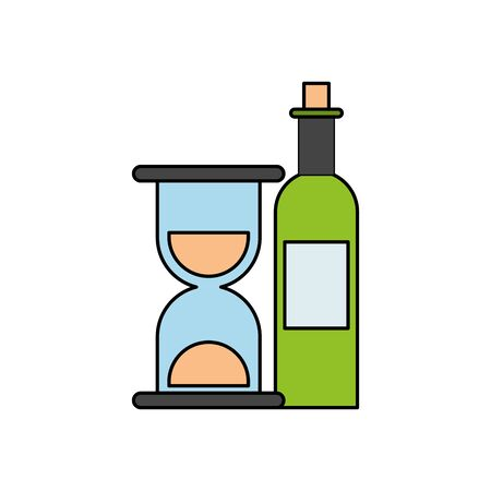 wine bottle drink with hourglass vector illustration design