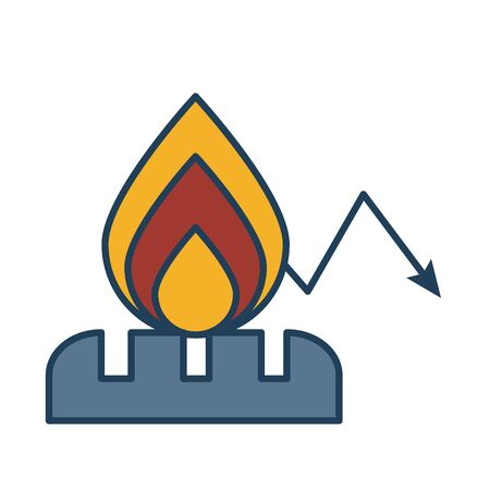 fire flame with arrow down fill style vector illustration design 向量圖像