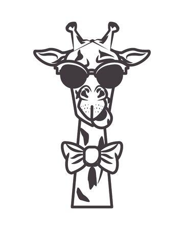 funny giraffe with sunglasses cool style vector illustration design 矢量图像