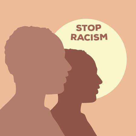 silhouette of men profiles stop racism campaign vector illustration design