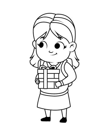 cute little girl with gift avatar character vector illustration design