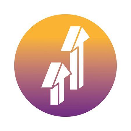 arrows up block style icon vector illustration design