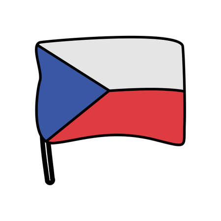 czech republic flag country isolated icon vector illustration design