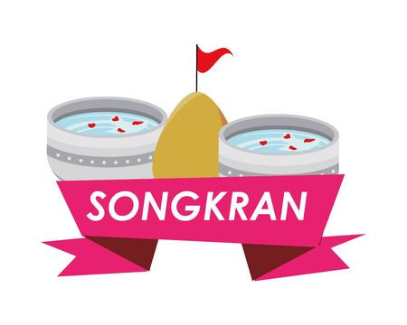 bowl with water songkran ribbon vector illustration design 向量圖像
