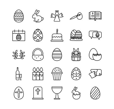 bundle of easter set line icons vector illustration design 일러스트