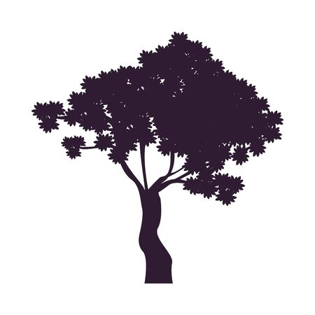 tree plant forest silhouette icon vector illustration design