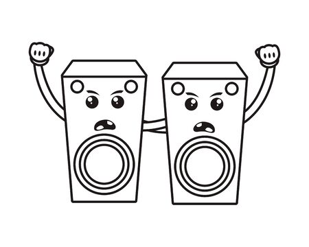 speakers sound comic characters icon vector illustration design