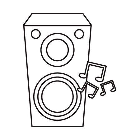 speaker sound audio device with music notes vector illustration design Ilustração