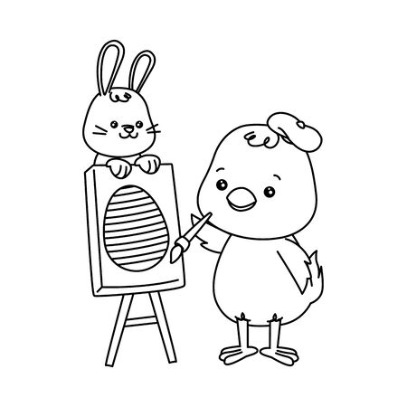 little rabbit and chick painting egg easter characters vector illustration design