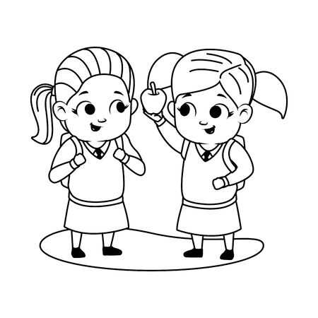 cute little girls with apple avatars characters vector illustration design 矢量图像