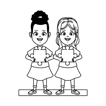 happy little girls with puzzle piece characters vector illustration design