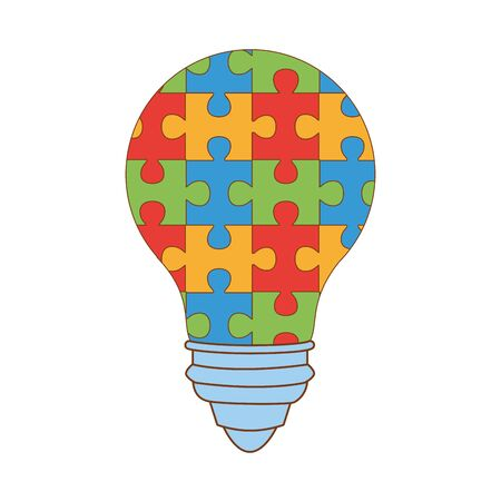 bulb with puzzle game pieces vector illustration design 写真素材 - 143298418