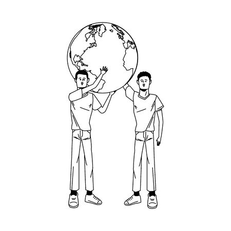 young men avatars lifting world planet characters vector illustration design Standard-Bild - 143298424