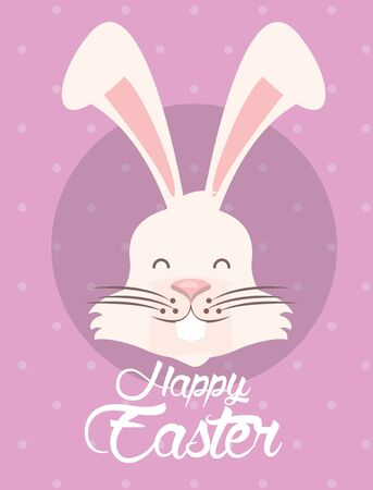 happy easter card with lettering and rabbit vector illustration design Illustration